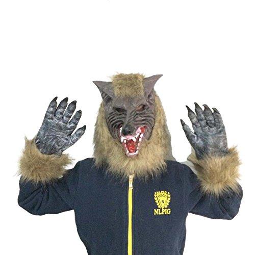 HBOS Gruselige Wolf Kopfmaske mit Klauen für Halloween Cosplay