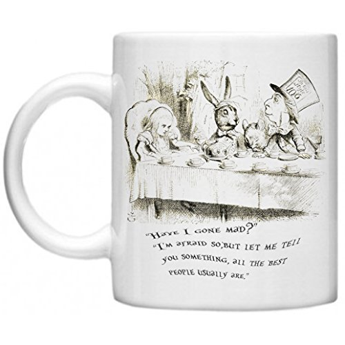 Alice in Wonderland, Mad Hatter Tea Party, Lewis Carroll, Alice im Wunderland Zitat, GPO Group Exclsuive Design Mikrowelle Spülmaschinenfest 313 ml Tasse (Alice Im Wunderland Mad Hatter)