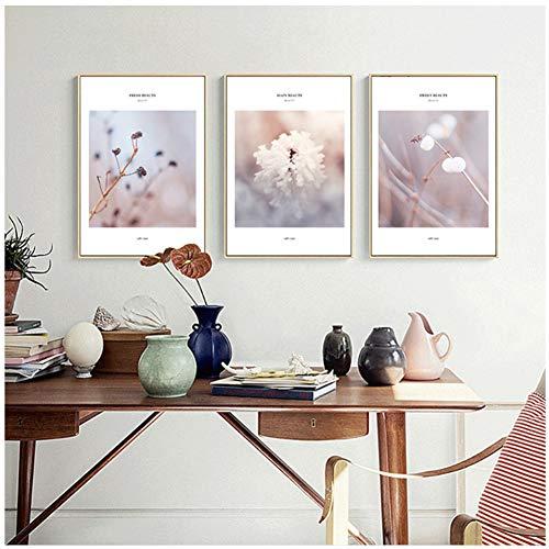 A&D Weiße Blumen Hauptdekorationen Nordisch Poster und Drucke Wandkunst Bilder für Küche Restaurant Bürozimmer Wanddekor Kunstwerk-50x70cm Ohne Rahmen
