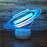 Shuyinju Saturn Universum Nachtlicht Lampe 3D Sky Planet Led Lampe 7 Bunte Tischlampe Für Kinder Party Geschenk Weiß Basis Mit Berührungsschalter