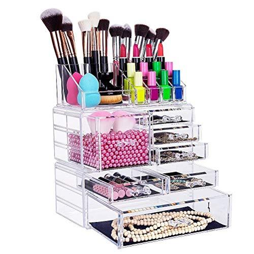 FOBUY Caja acrílica Estante de maquillajes Maquillaje Cosméticos Joyería Organizador (4 Drawers Clear C) (3 layer Color transparente)