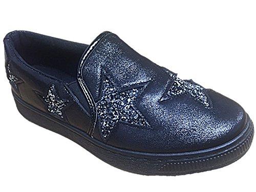 Scarpe Da Donna Ella Glitter Pumps Antiscivolo, Sneaker Flat Espadrillas, Taglia 3 ? (uk) Stella Nera