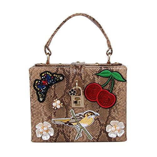 Single Schultertasche Handtasche und Diamond metall Blume Schachtel Handel Schmetterling bestickte Tasche Schultertasche, Kamel F (Schultertasche Bestickte)