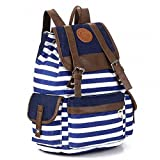 SODIAL(R) Women Girls Striped Canvas Backpack Book Bag Travel Rucksack School Bag Shoulder Bag Satchels Shipped With Tracking No. & A Exclusive Gift