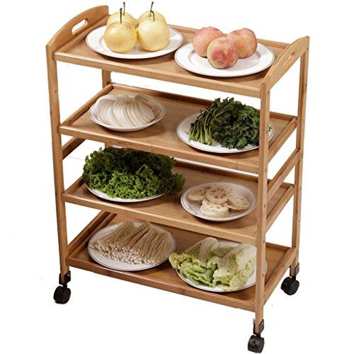Li Li Na Shop Massivholzboden Mobile Speisewagen Mobile Racks Tee-Racks multifunktionale Küche Wohnzimmer Schlafzimmer Mobile Lagerregal Wohnzimmer Wagen