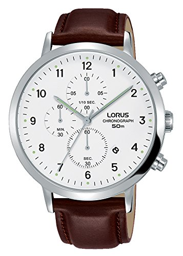 Lorus Mens Chronograph Quartz Watch with Leather Strap RM317EX8