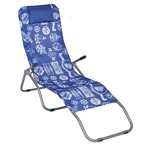 Enrico coveri lettino sdraio basculante e reclinabile in acciaio e tessuto textilene, perfetto per arredo giardino, esterno e mare (blu)