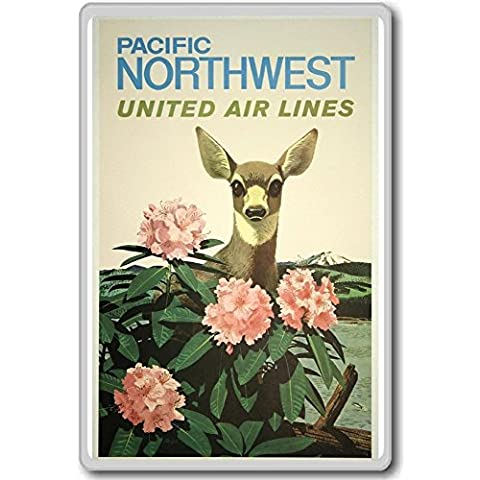 Pacific Northwest, United Airlines - Vintage Travel Fridge Magnet - Calamita da frigo