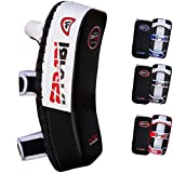Farabi thai pad kick shield mma kickboxing muay thai training pad arm pad strike shield (White/black)