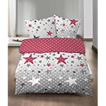 Castell Ropa de cama de franela (2piezas, funda nórdica de 135x 200cm almohada Reversible 80x 80cm Estrellas Plata Gris Lila Rojo