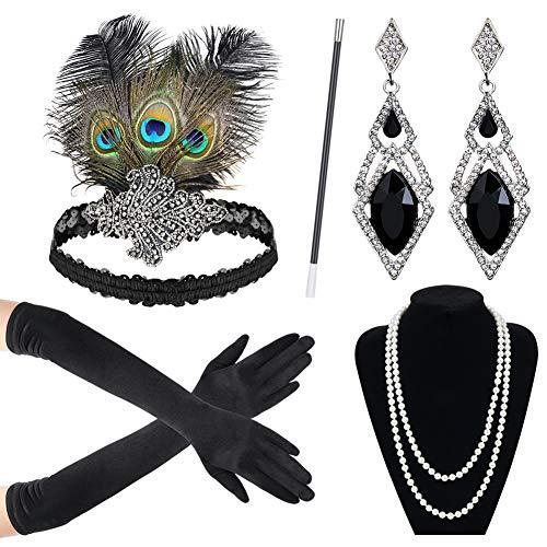 Sinoeem 1920s Kostüm Damen Flapper Accessoires Set 20er Jahre Halloween Kostümzubehör Inklusive Stirnband Halskette Handschuhe Ohrringe Zigarettenhalter Set (Set-4)