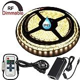 LED Streifen Licht LED Leiste,LED Strip 5M Full Kit Dimmbar,300 SMD 5050 LEDs Lichtband,DC24V IP65 Wasserdicht Lichtleiste LED Bänder mit Netzeil,Warmweiß (3000K)