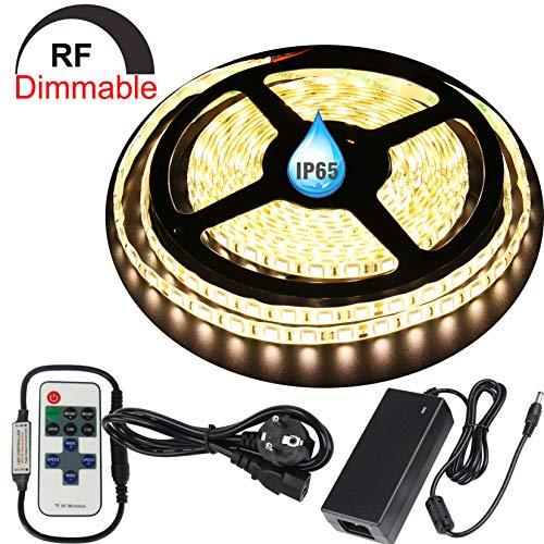 LED Streifen Licht LED Leiste,Dimmbar LED Strip 5M Full Kit,300 SMD 5050 LEDs Lichtband,DC24V IP65 Wasserdicht Lichtleiste LED Bänder mit Netzeil,Warmweiß (3000K)