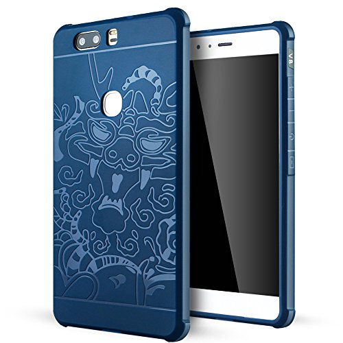 Huawei Honor V8 hülle,Lizimandu Case Für huawei honor v8 aus TPU Silikon - Handy Schutzhülle Cover(Blau Drachen/Blue Dragon)