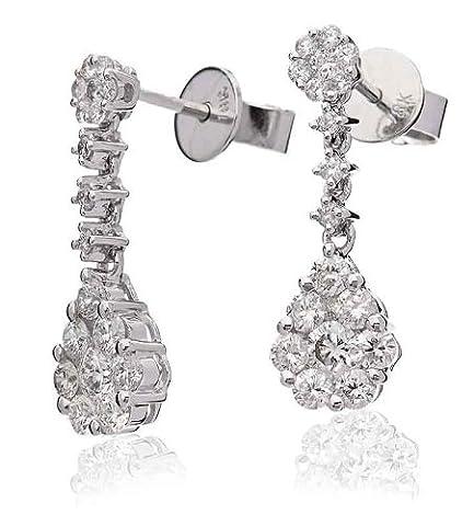 1.10CT Certified G/VS2 Cluster Pear Shape Diamond Drop Earrings in 18K White Gold