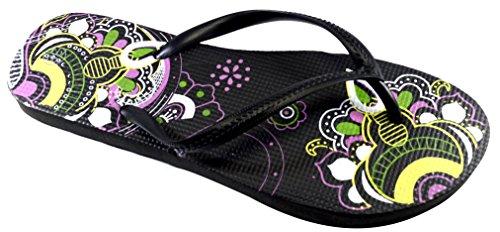 Octave® - Infradito da donna per lestate e la spiaggia, diversi stili e colori Mandala Design - Black