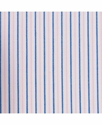 Savile Row Men's Pink Navy White Fine Stripe Classic Fit Shirt - Single Cuff Pink Navy White