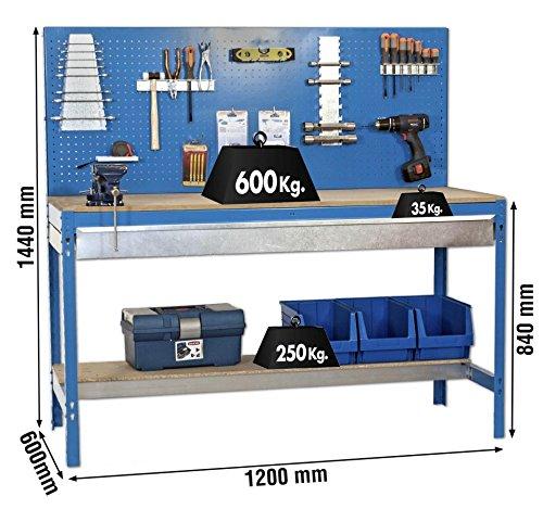Werkbank 'BT-2 1200 Blau-Holz mit Metallschublade', 1440x1200x750 mm, Simonrack