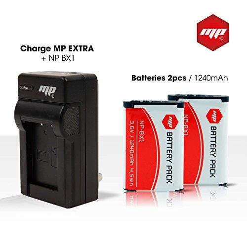 Preisvergleich Produktbild 2 Akku np-bx1 , NPBX1 MP EXTRA ® für SONY HDRAS15B + Ladegerät Europa / US + Adapter für Auto + Box Transport