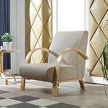 Fauteuil design en avec structure en bois beige couleur sable