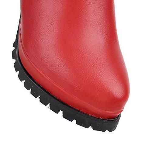 VogueZone009 Donna Punta Tonda Puro Luccichio Tacco Alto Stivali con Fibbia Rosso