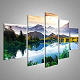 islandburner Bild Bilder auf Leinwand XXL Bild Poster Leinwandbild Wandbilder Kunstdruck 5-teilig AWF See Landschaft Berge
