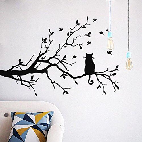 Wandaufkleber Yesmile Wandaufkleber Schwarz Motiv Katze Dekoration Aufkleber Geäst Katzen und Vögel Ausrichtung nach links Farbe schwarz Größen