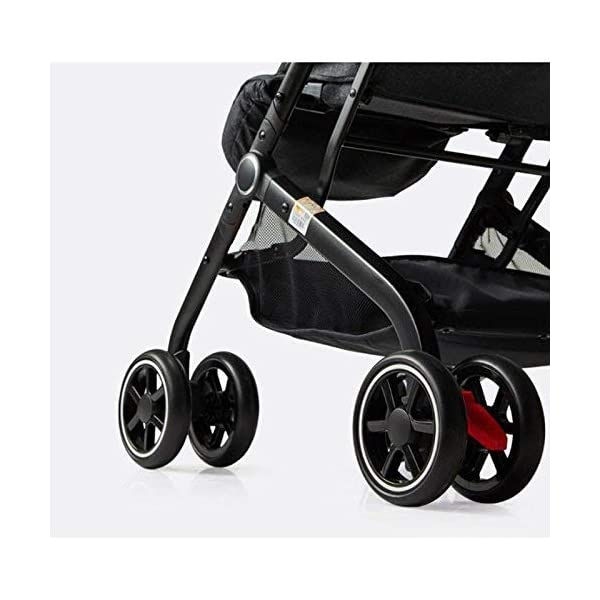 MU Comfortable Pushchairs Collapsible Stroller,One-Hand Brake, Can Sit Reclining Baby Pushchair Stroller, with Storage Basket Four-Wheel Shock Absorber Lightweight Folding Buggy Stroller,Rose red Mu The adjustable 5-point safety harness has comfortable shoulder pads, The sturdy frame has a wider seat which results in a more comfortable ride for your child The stroller can be easily folded, smaller and more portable; the adjustable backrest angle can be seated or lying down, as well as a large shopping basket and caster Comfortable sleep, eight-wheel shock absorber, built-in spring, adapt to all kinds of road conditions, baby ride more comfortable 5
