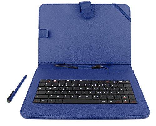DURAGADGET Blaue Tasche aus Kunstleder mit praktische Aufstell-Funktion und DEUTSCHE Tastatur für 10 Zoll Dragon Touch Kinder Tablets