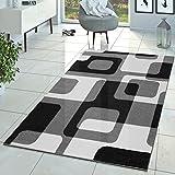 T&T Design Wohnzimmer Teppich Modern Grau Schwarz Weiß Retro Muster Kurzflor, Größe:70x250 cm