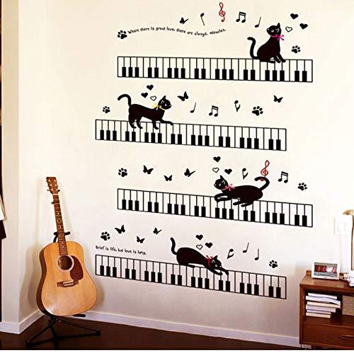 Xlei adesivi murali il gatto sul pianoforte musica adesivi murali per bambini camere camera arte sfondo battiscopa in pvc battiscopa farfalla decor60x90cm