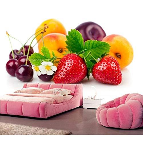 Lvabc Erdbeerpfirsiche Cherry Plums Food Wallpaperrestaurant Bar Wohnzimmer Sofa Tv Wand Küche Schlafzimmer 3D Fototapete Wandbild-200X140Cm -