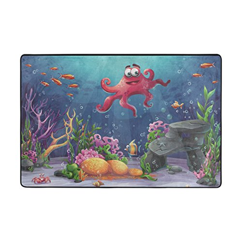 Coral Moderner Teppich (UHONEY ingbags Octopus Coral und Bunte Reefs Algen Sand Wohnzimmer Essbereich Teppiche 3x 2Füße Bed Room Teppiche Büro Teppiche Moderner Boden Teppich Teppiche Home Decor, Multi, 6 x 4 Feet)