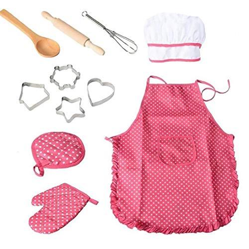 11pcs / Pack Chef-Set Für Kinder Küchenrollen Koch-Kostüm Mit Schürze Chef-Hut Utensilien Spielen Mitt Kochen (Kochen-kits Für Mädchen)