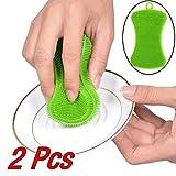 eujiancai 2Pcs Silicone Dish Washing Sponge Scrubber Kitchen Cleaning Antibacterial Tool - 11x4.5x0.7cm Green