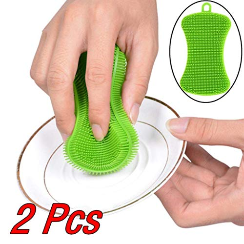 eujiancai 2Pcs Silicone Dish Washing Sponge Scrubber Kitchen Cleaning Antibacterial Tool - 11x4.5x0.7cm Green -