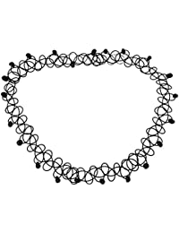 HOUSWEETY Collier Ras du Cou Tatouage Elastique Reglable avec Perles Style Harajuku Retro Gothique pour Femme
