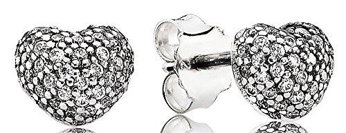 Pandora - orecchini a perno a forma di cuore con pavé di zirconi, in confezione regalo pandora
