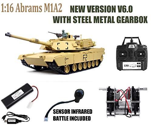 MODELTRONIC Tanque Radio Control U.S.A. M1A2 Abrams Desert Escala 1/16 Heng Long versión V6.0, Transmisiones de Acero, con batería Litio, emisora 2.4G V6.0, con Sonido, Airsoft, Humo 3918-1