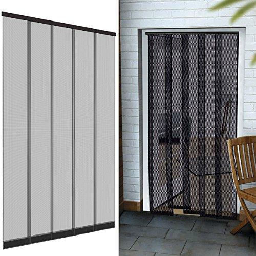 PROHEIM Premium Insektenschutz Lamellenvorhang Polyester für Türen 125 x 240 cm aus in anthrazit Türvorhang eingenähte Gewichte + Selbstklebende Klemmleiste