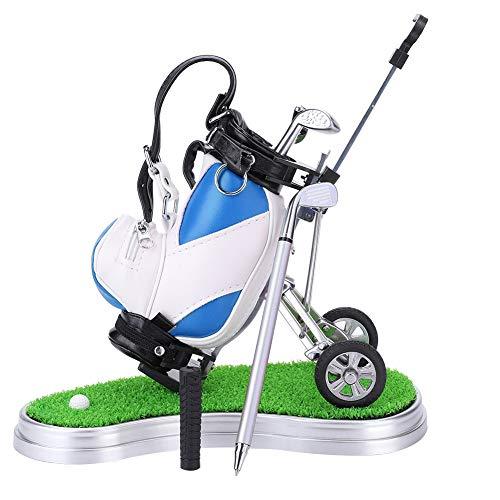 Mini Golf Stifthalter,Miniatur-Golftasche mit Golfschläger-Kugelschreibern und intergrierter Uhr Tischdeko Golf Geschenkset Golftasche mit Rasen und Uhr plus 3 Stiften in Golfschlägerform(Blau)