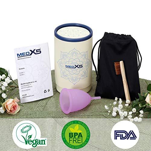 MedX5 (Upgrade 2019) Menstruationstasse aus medizinischem Silikon, Menstruationskappe inkl. Reinigungsbürste, Beutel und Geschenkbox, Größe: S Menstruationskappe, Farbe: Lila