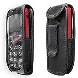 caseroxx Handy-Tasche Ledertasche mit Gürtelclip für AEG Voxtel M311 aus Echtleder, Handyhülle für Gürtel (mit Sichtfenster aus schmutzabweisender Klarsichtfolie in schwarz)