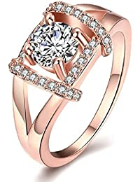 Kiss Jewels Rose Gold Plated Clear Cubic Zirconia Ring For Women