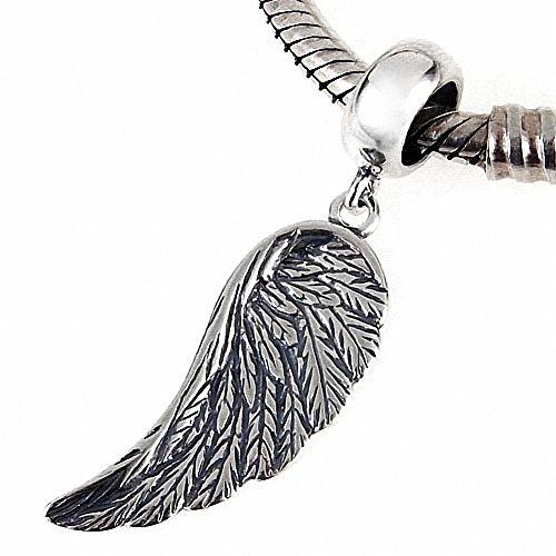 Hoobeads - Perla in argento Sterling 925, con pendente a forma di ali d'angelo, adatta per braccialetti europei