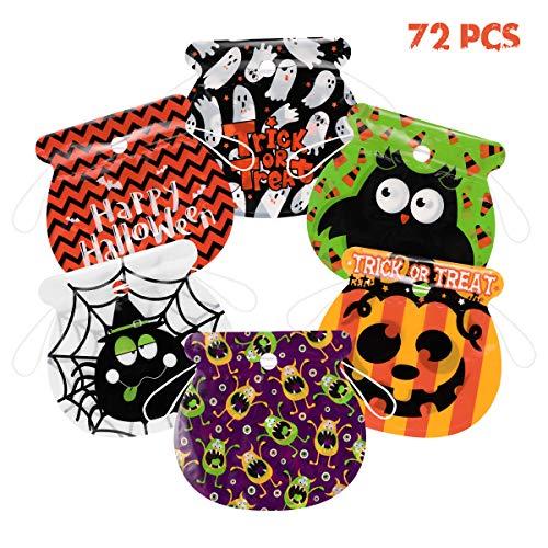 Amosfun Halloween Drawstring Candy Bags 72Pcs Happy Halloween Süßes oder Saures Goody Bags Sortiment für Kinder Halloween Party Supplies