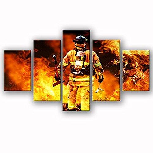 Feuerwehrleute Wand Kunst Leinwand Kunst Home Decor Für Wohnzimmer Moderne  Bilder Bilder 5 Panel Breite Poster HD Gedruckt Malerei Gerahmt Fertig Zum  ...