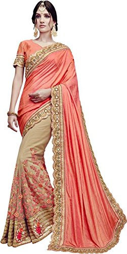 SareeShop Embroidered Multi Colour Silk & Georgette Saree With Blouse Material (Beige...