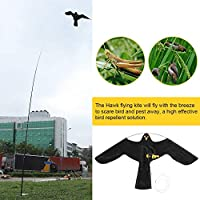 GOTOTOP Extendable Bird Repeller Scarer Protect Farmers Crops Flying Bird Kite Scarer Hawk Kite (with 5m Telescopic Pole)