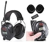SKS 1180 Digital mit Radio FM/AM Kapselgehörschutz, Kopfhörer + MP3 Anschluss, schwarz / schwarz + Batterien, Hygienesatz und Audiokabel für MP3